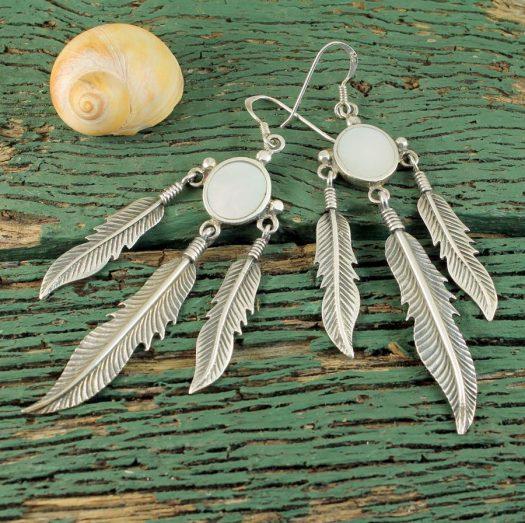Moonstone Tribal Earrings E-0105-f