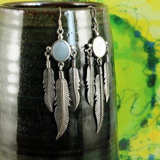 Moonstone Tribal Earrings E-0105-h