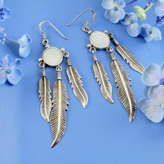 Moonstone Tribal Earrings E-0105-i
