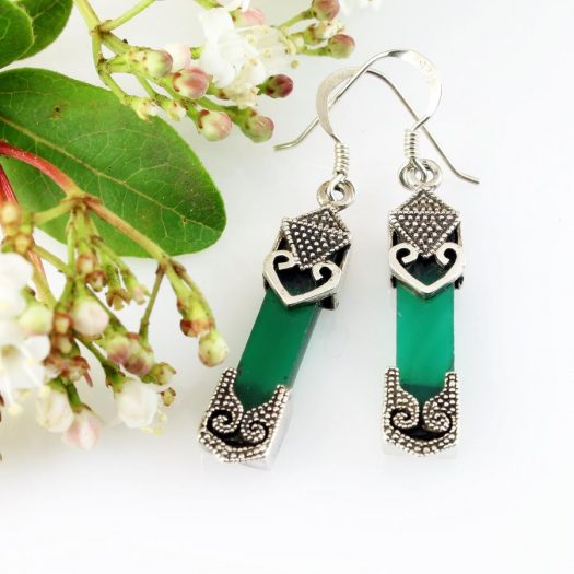 Aventurine & Silver Earrings E-0140-b