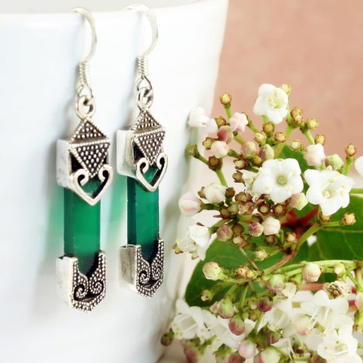 Aventurine & Silver Earrings E-0140-g