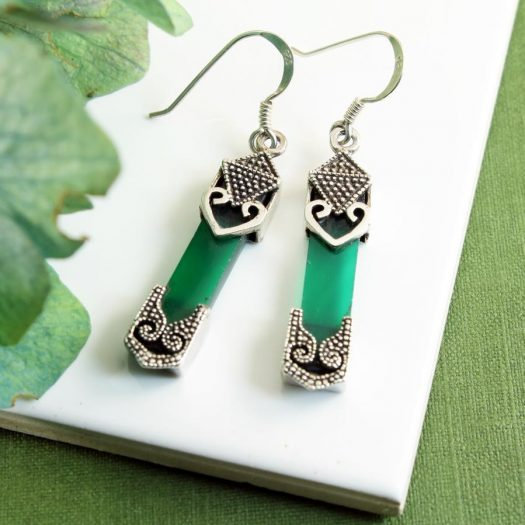 Aventurine & Silver Earrings E-0140-h