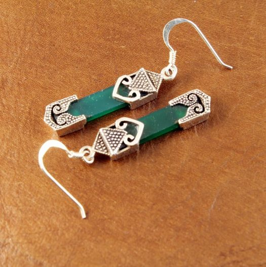 Aventurine & Silver Earrings E-0140-k