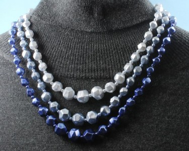 Blue-Silver_3-Strand_Vintage_Bead_Necklace_N-0268-a