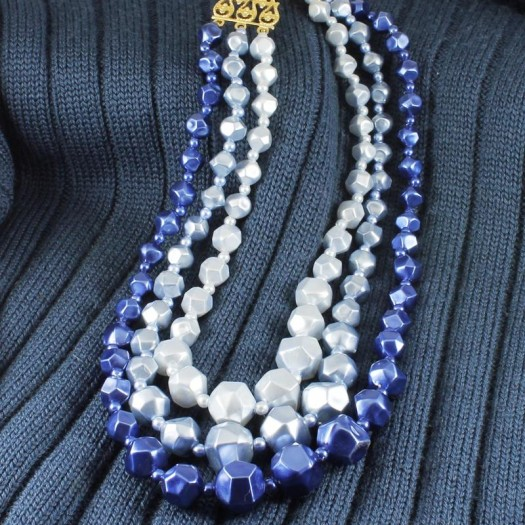 Blue-Silver_3-Strand_Vintage_Bead_Necklace_N-0268-d