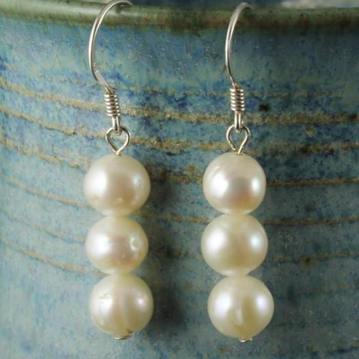 3 White Pearl Drop Earrings