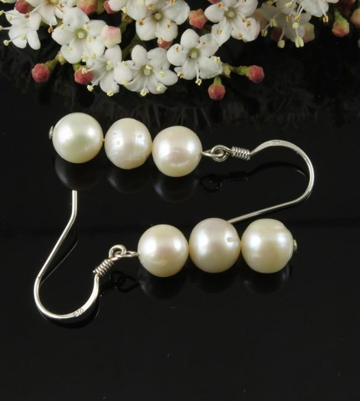 3 White Pearl Drop Earrings