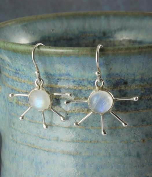 Moonstone & Silver Luna Drop Earrings