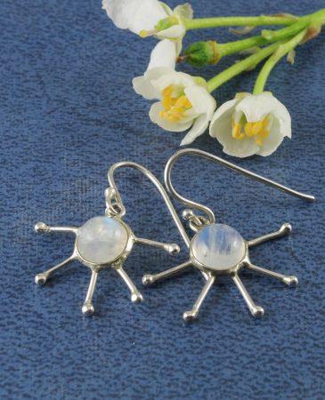 Moonstone & Silver Luna Drop Earrings