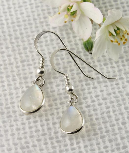 Moonstone & Silver Teardrop Earrings