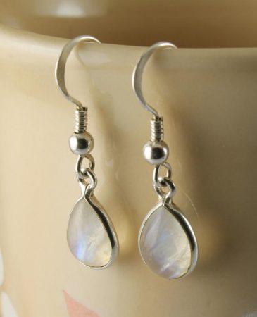 Moonstone & Silver Teardrop Earrings