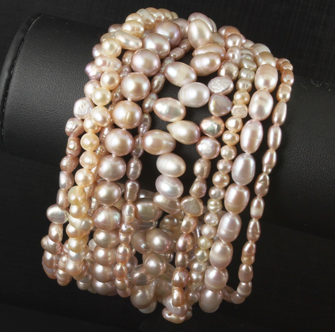 Pale Rose Pink Multi Strand Pearl Bracelet