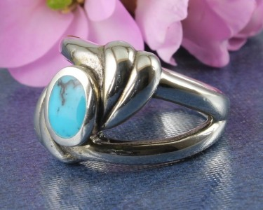 Turquoise Oval Flowing Silver Applique Ring