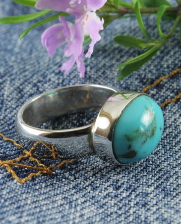 Turquoise-Plain-Convex-Oval-Ring-R-0127-a