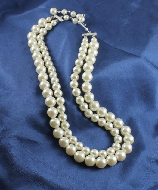 Vintage White Double Strand Pearl Necklace