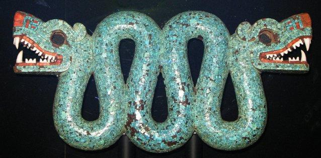 Aztec Double headed turquoise serpent