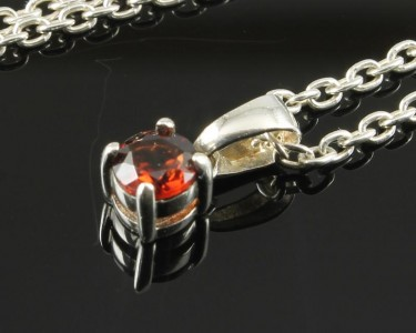 Garnet Small Faceted Pendant & Chain
