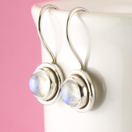 Moonstone Round Petite Flange Earrings