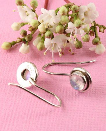 Moonstone Round Petite Flange Earrings