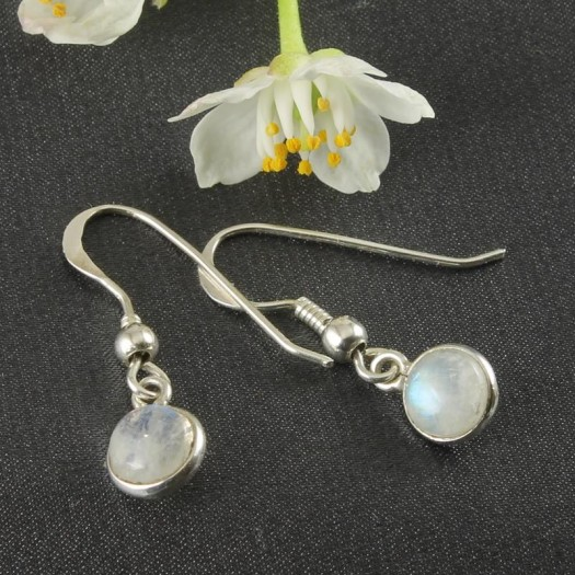 Moonstone Small Round Drop Earrings