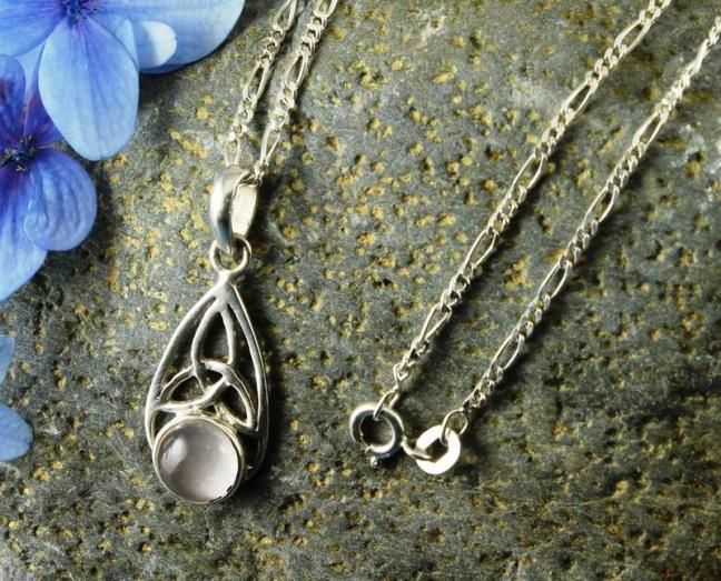 Moonstone Celtic triangle pendant