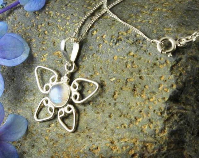 Moonstone Wirework Daisy Pendant