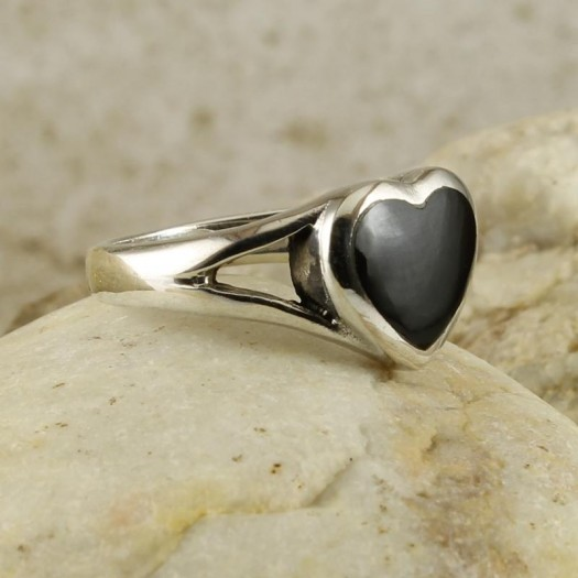 Onyx Silver Heart Ring