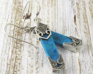 Turquoise Ethnic Patinated Silver Earrings