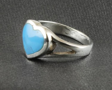 Turquoise Heart Split Shoulder Ring