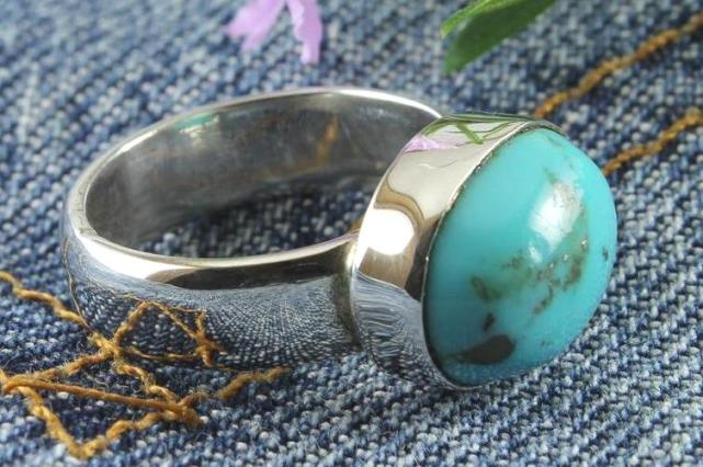 Turquoise Plain Convex Oval Ring
