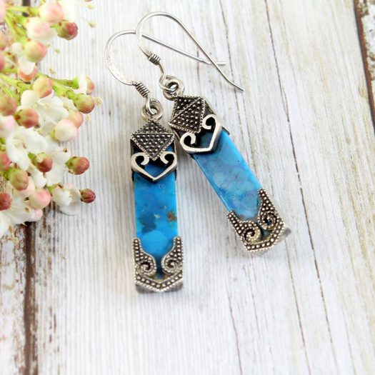 Turquoise & Silver Celtic Earrings E-0138-a