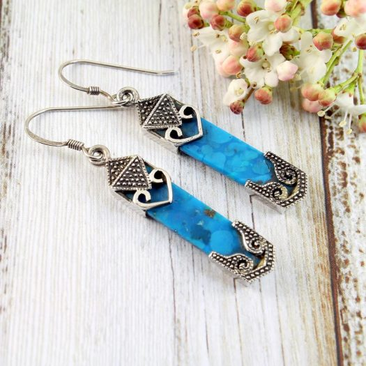 Turquoise & Silver Celtic Earrings E-0138-b