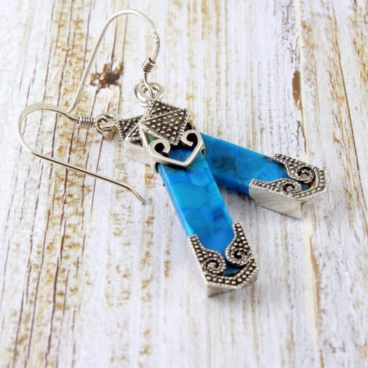 Turquoise & Silver Celtic Earrings E-0138-c