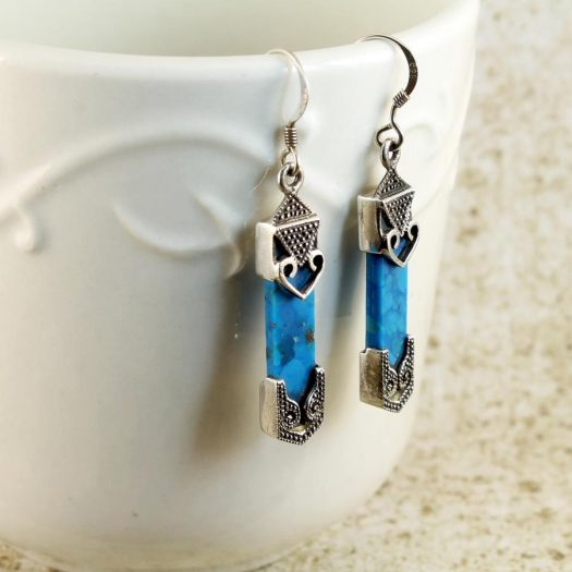 Turquoise & Silver Celtic Earrings E-0138-g