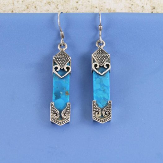 Turquoise & Silver Celtic Earrings E-0138-h