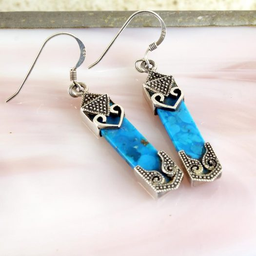 Turquoise & Silver Celtic Earrings E-0138-i
