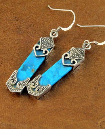 Turquoise & Silver Celtic Earrings E-0138-j
