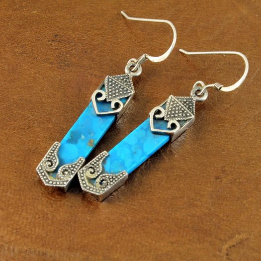 Turquoise & Silver Celtic Earrings E-0138-j