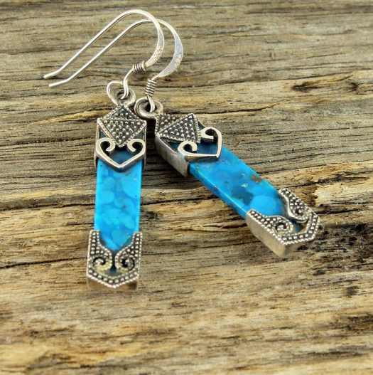 Turquoise & Silver Celtic Earrings E-0138-k