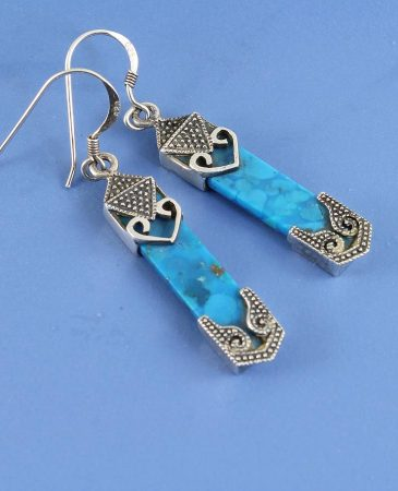 Turquoise & Silver Celtic Earrings E-0138-l