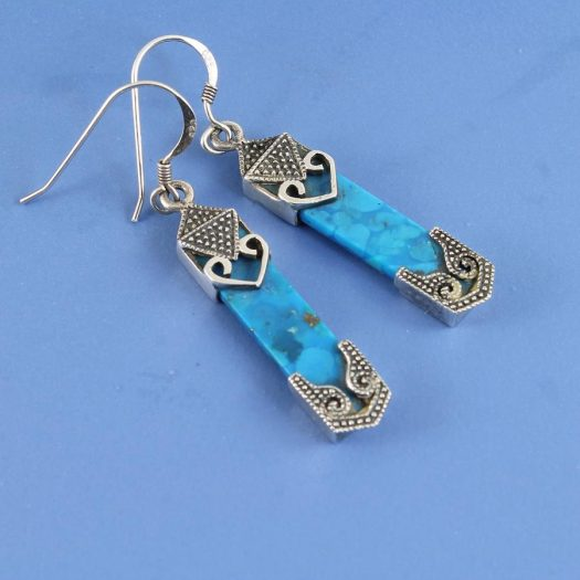 Turquoise & Silver Celtic Earrings E-0138-l