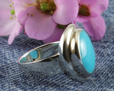 Turquoise & Silver Petite Flange Ring