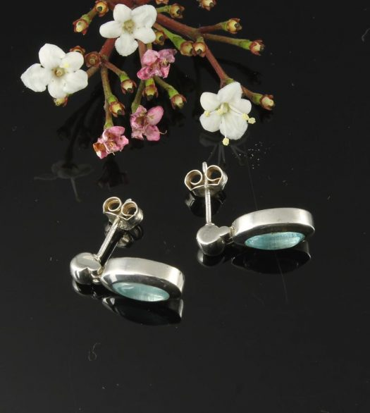 Blue Topaz & Silver Oval Stud Earrings