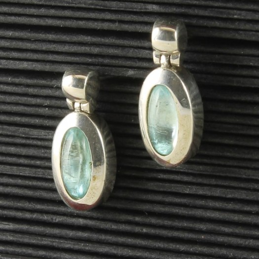 Blue Topaz & Silver Oval Stud Earrings