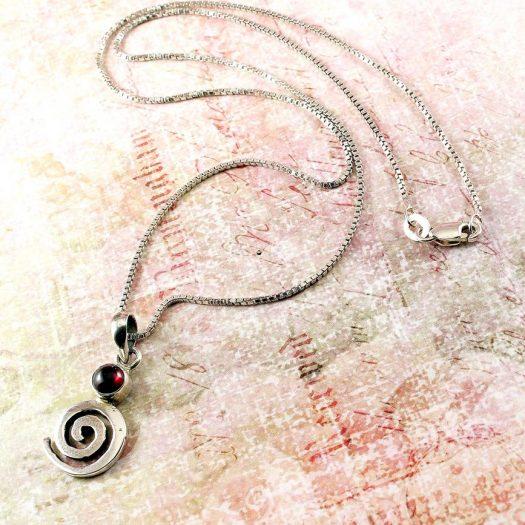 Garnet & Silver Spiral N-0228-h
