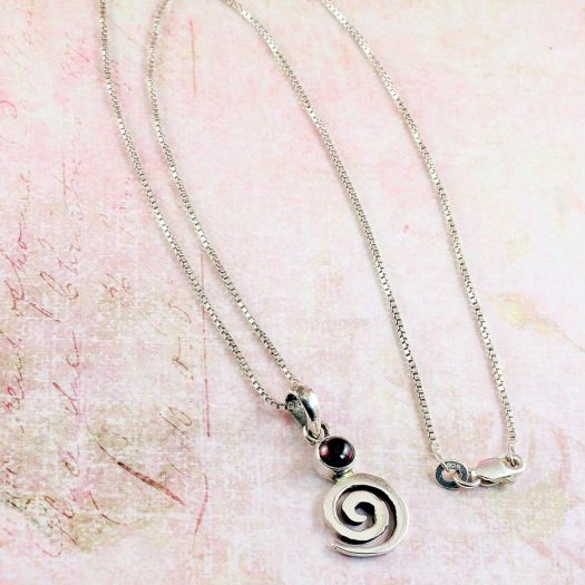 Garnet & Silver Spiral N-0228-i