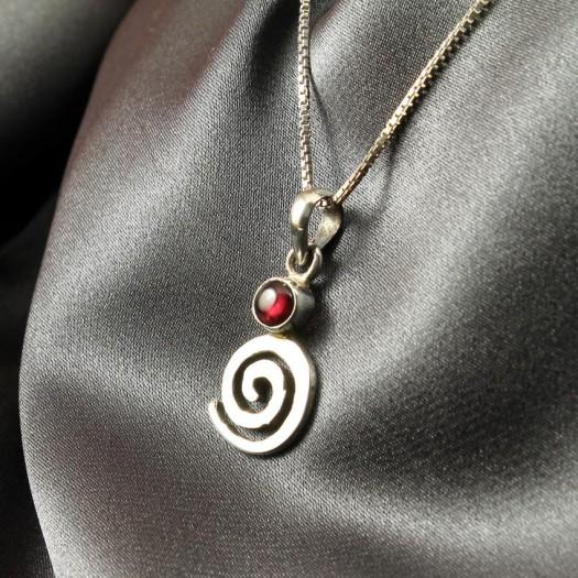 Garnet & Silver Whirlpool Pendant