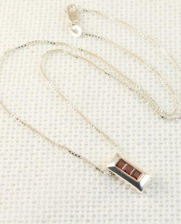 Garnet Rectangle Slide Pendant