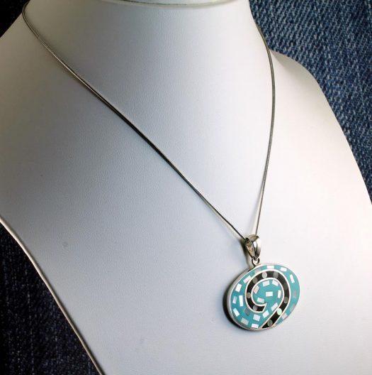 Vintage Turquoise Pendant N-0195-h