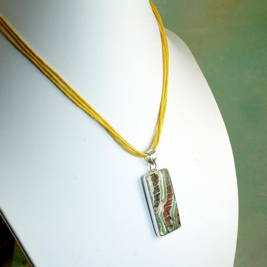 Green Shell Rectangle Pendant